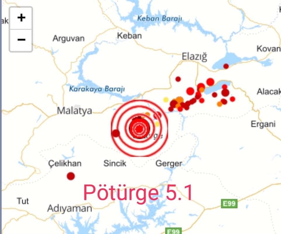 Pütürge'de Deprem, Sincik Sallandı